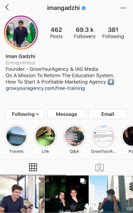 Iman Gadzhi's Instagram Account